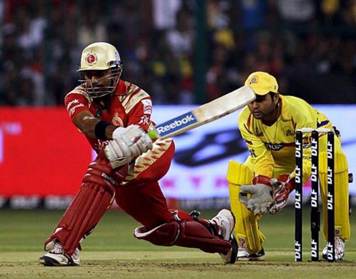 Robin Uthappa plays the reverse sweep, Royal Challengers Bangalore v Chennai Super Kings, IPL, Bangalore, March 23, 2010