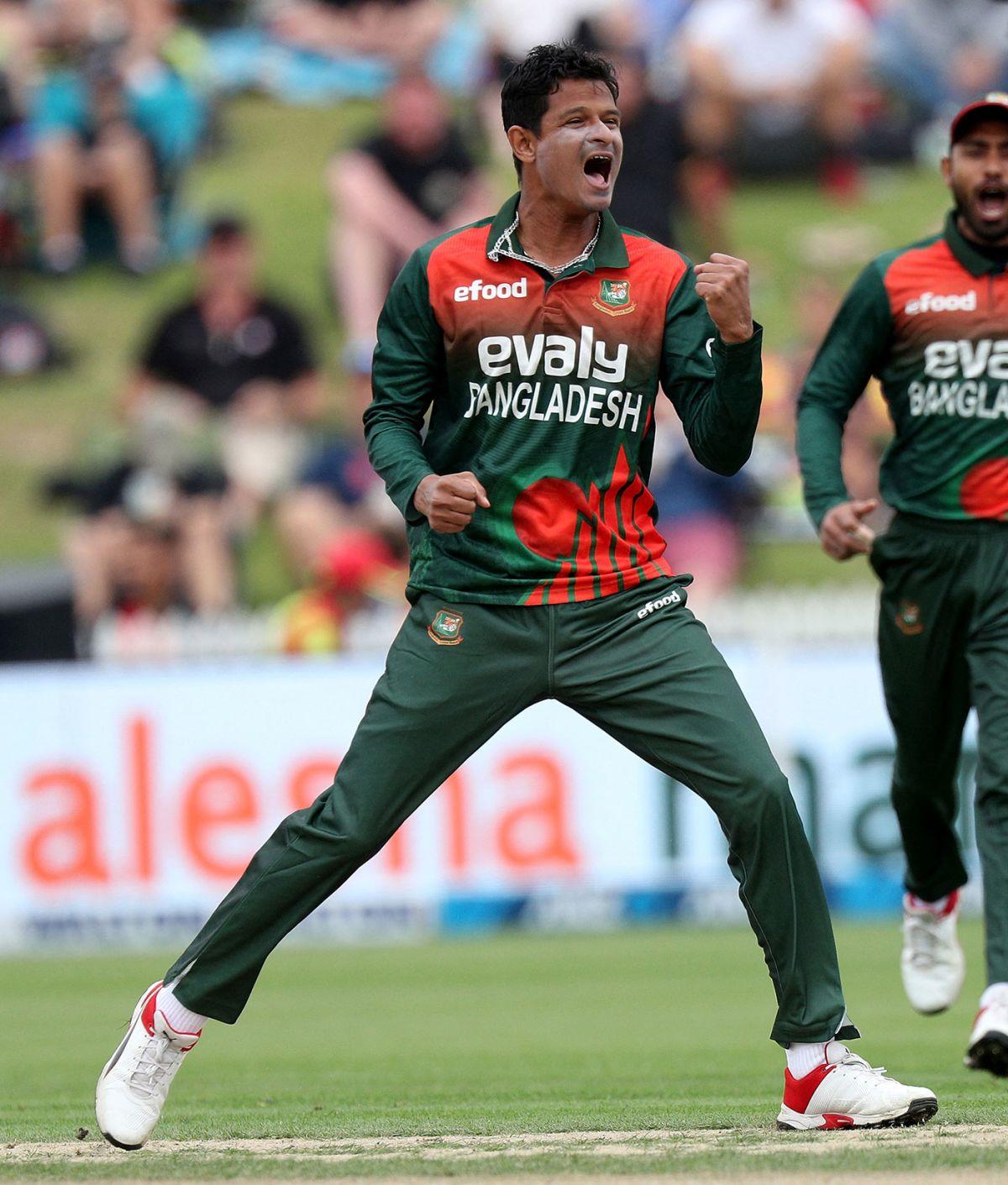 Nasum Ahmed celebrates his first wicket, New Zealand vs Bangladesh, 1st T20I, Hamilton, March 28, 2021