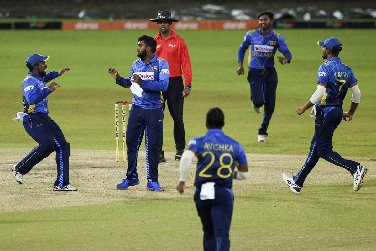 Wanindu Hasaranga celebrates a wicket, Sri Lanka vs South Africa, 3rd ODI, Colombo, September 7, 2021