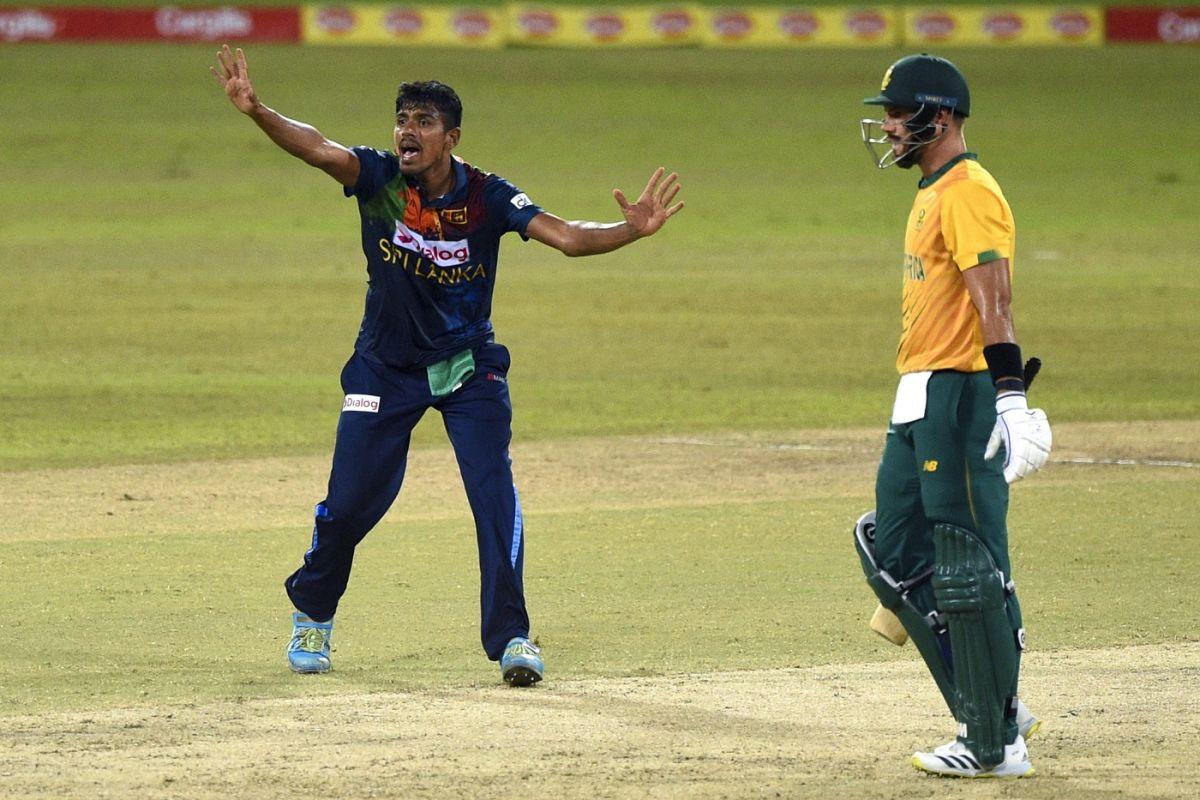 Debutant Maheesh Theekshana appeals for Heinrich Klaasen's wicket as Aiden Markram looks on, Sri Lanka vs South Africa, 1st T20I, Colombo, September 10, 2021