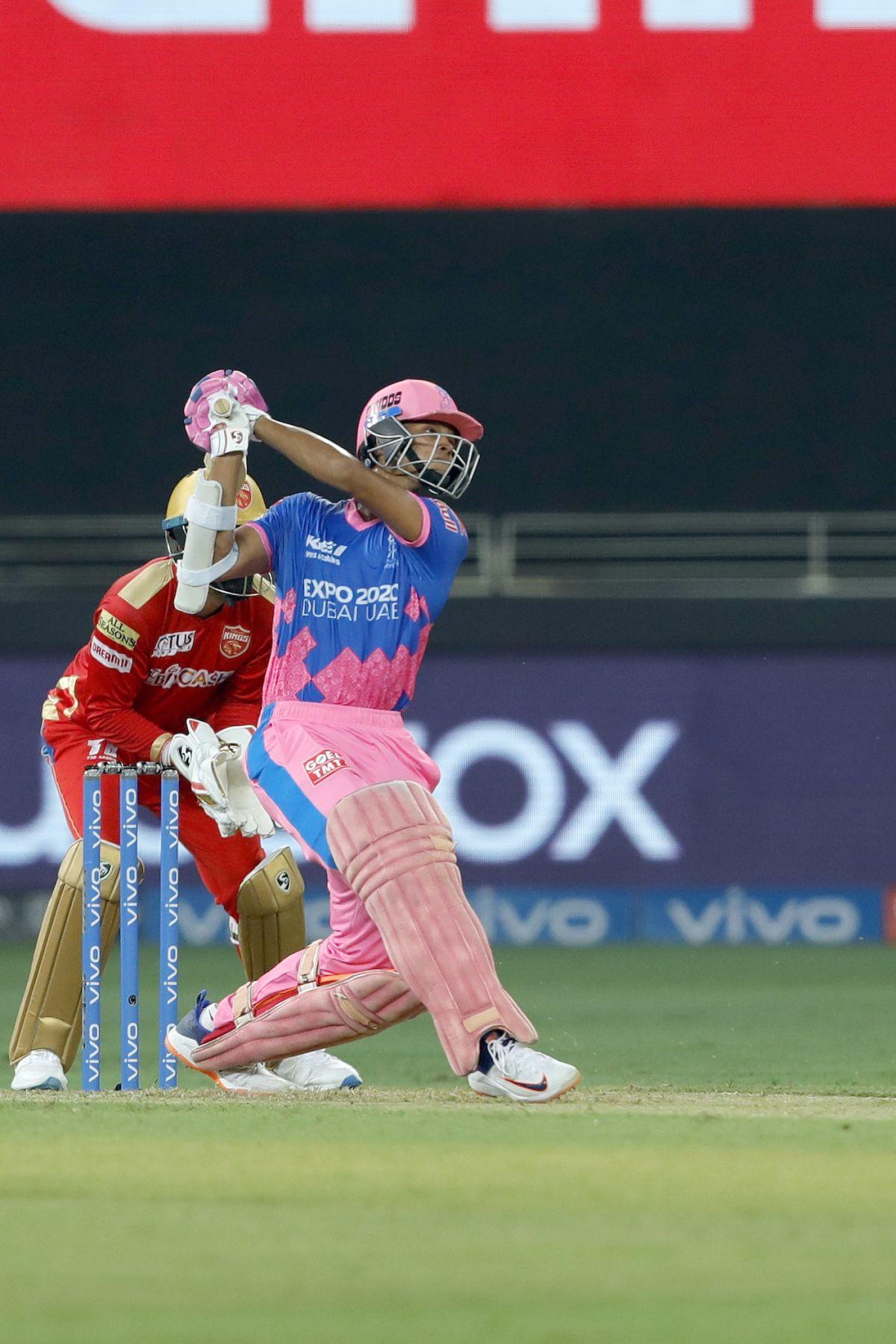 Yashasvi Jaiswal goes inside out over the off side, Punjab Kings vs Rajasthan Royals, IPL 2021, Dubai, September 21, 2021