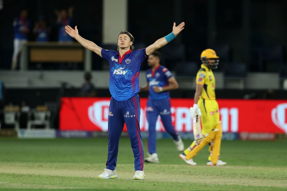 Tom Curran celebrates after taking a wicket, Delhi Capitals vs Chennai Super Kings, IPL 2021 Qualifier 1, Dubai, October 10, 2021