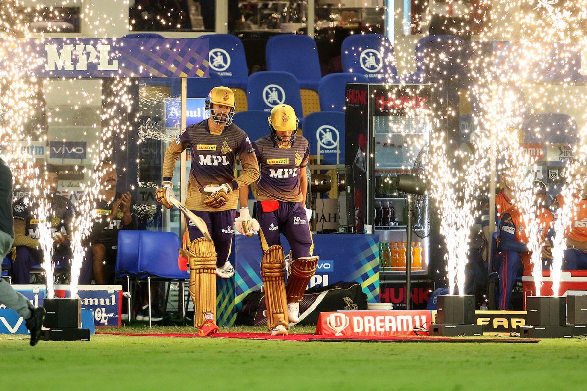 Shubman Gill and Venkatesh Iyer walk out to bat, Delhi Capitals vs Kolkata Knight Riders, IPL 2021 Qualifier 2, Sharjah, October 13, 2021