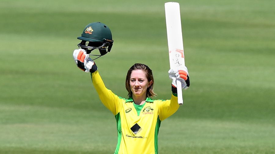 Rachael Haynes celebrates her maiden ODI century Getty Images