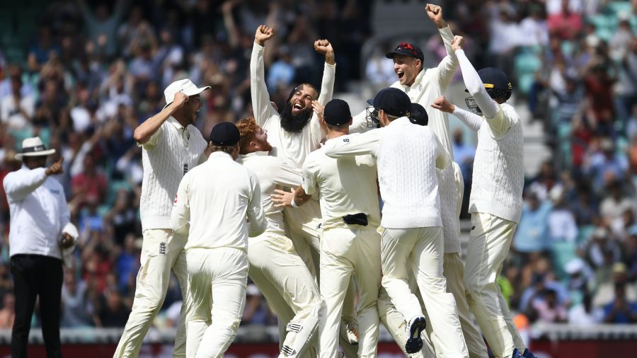 Moeen Ali celebrates after completing his hat trick against South Africa in 2017 Getty Images