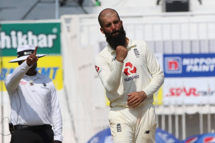 Moeen Ali celebrates one of his four second-innings wickets BCCI