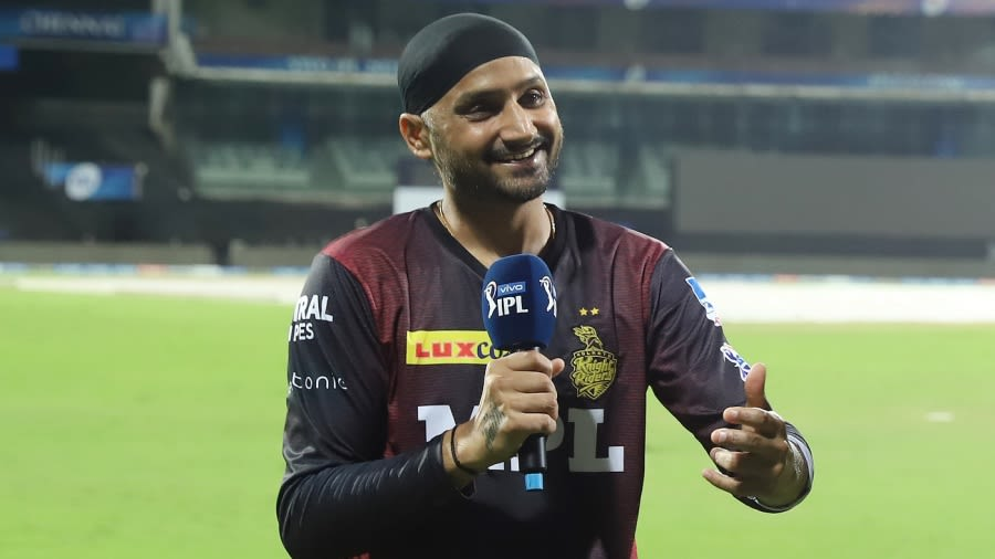 Harbhajan Singh is all smiles after his debut game for KKR BCCI/IPL
