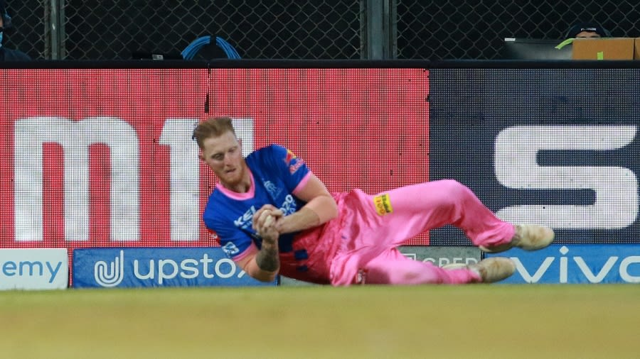 Ben Stokes hurt himself while going for a catch in the Royals' first game BCCI/IPL