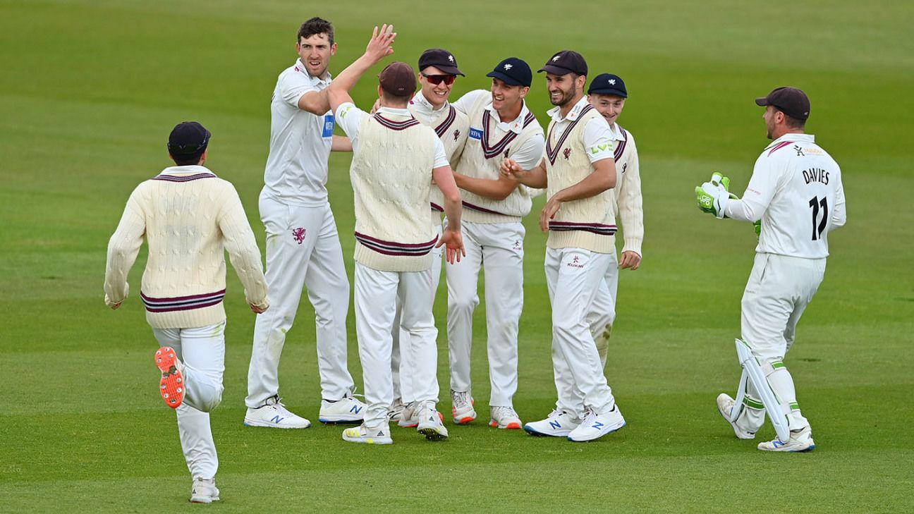 Tom Abell's unbeaten fifty keeps Somerset ahead on spicy pitch after Hampshire fall for 79