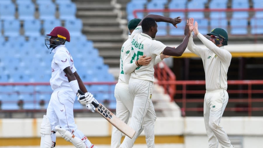Kagiso Rabada's 5 for 34 saw South Africa wrap up an innings win AFP/Getty Images