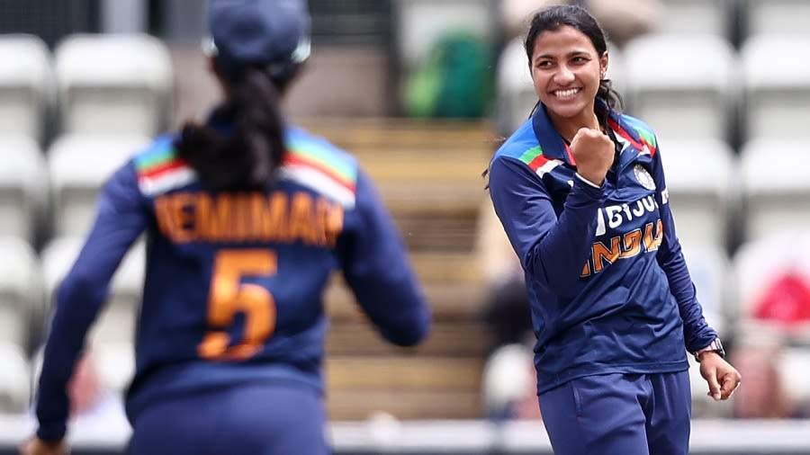Sneh Rana celebrates a wicket Getty Images