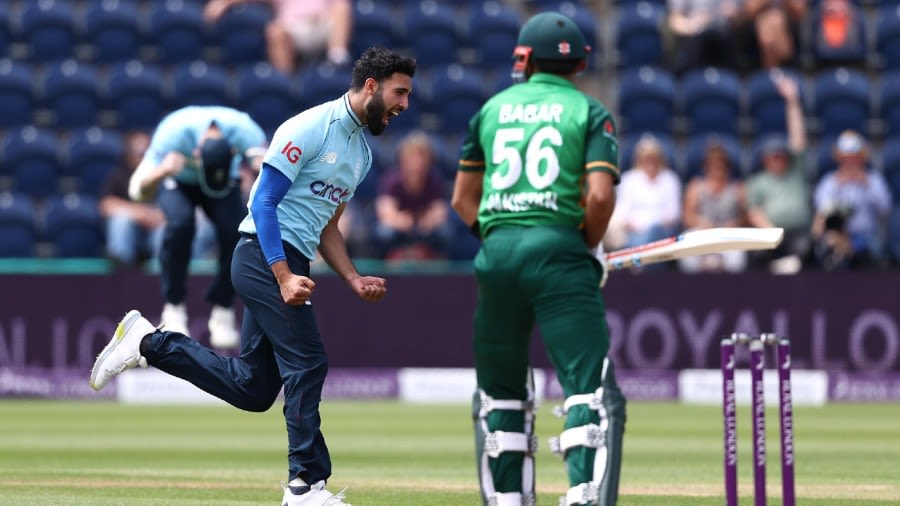 Saqib Mahmood dismissed Babar Azam for a duck in his first over Getty Images