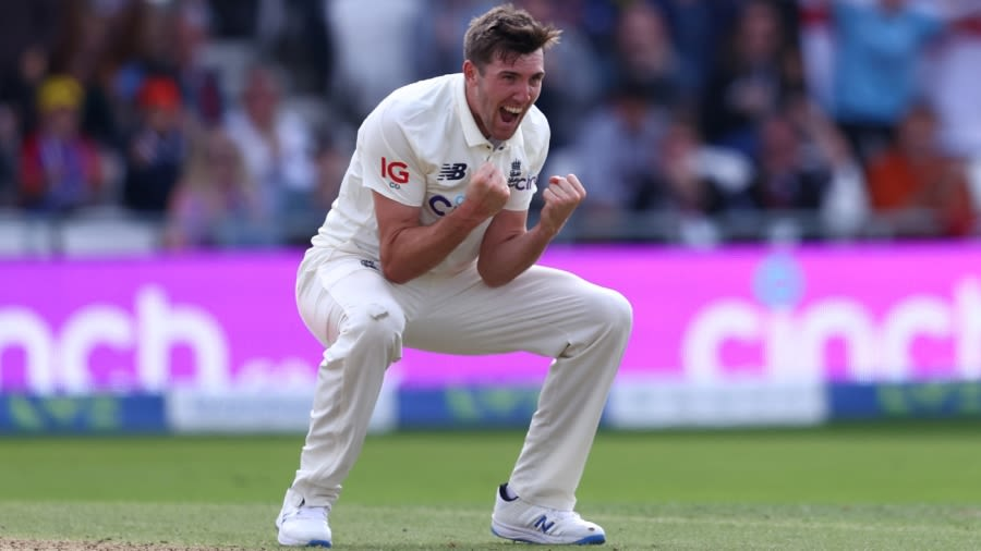 Craig Overton celebrates a wicket Getty Images
