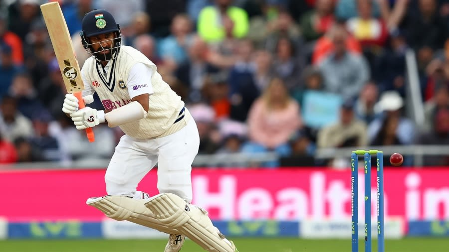 Cheteshwar Pujara flicks one off this pads Getty Images